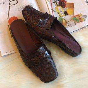 Sesto Meucci Brown Woven Leather Mules Slides 8M